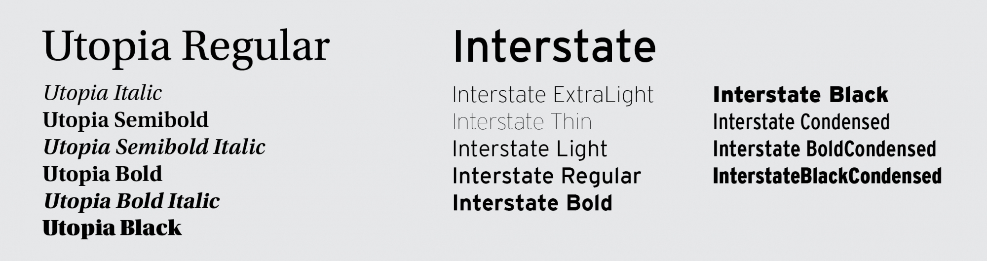 Utopia and Interstate fonts